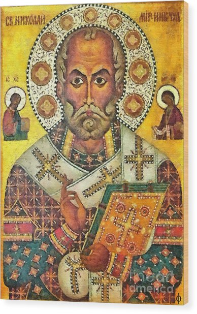 St Nicholas' Icon Wood Print