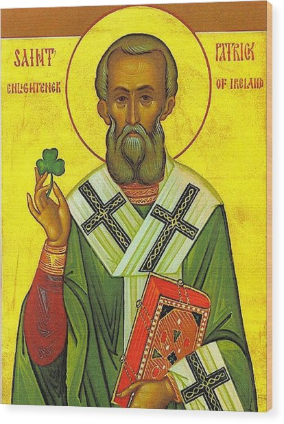 St Patrick And The Shamrock Wood Print by Pam Neilands