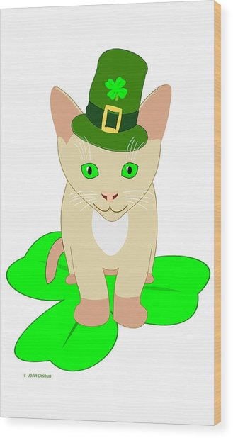 St. Patrick's Day Cat Wood Print