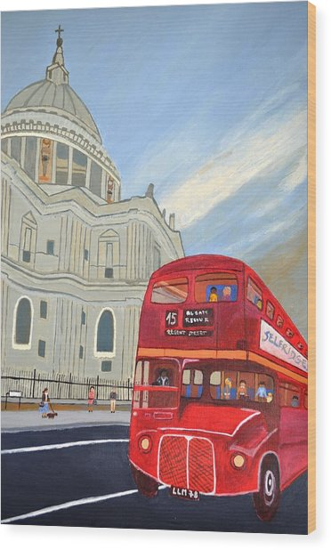 St. Paul Cathedral And London Bus Wood Print
