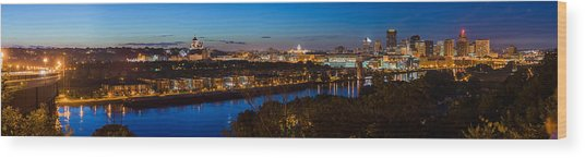 St Paul Skyline At Dusk Wood Print