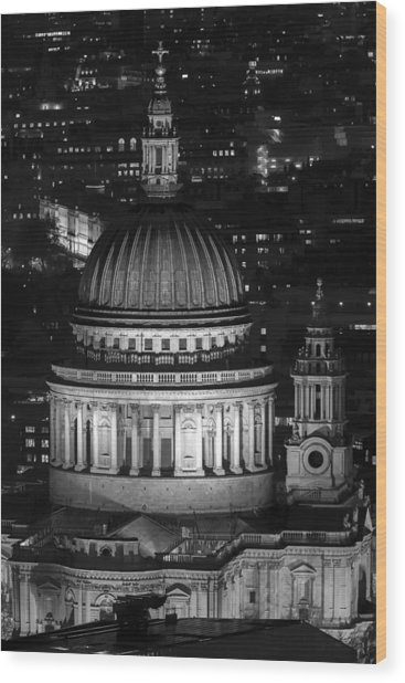 London St Pauls At Night Wood Print