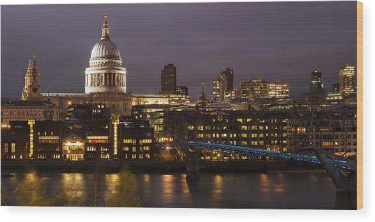 St Paul's At Night Wood Print by Nigel Kenny
