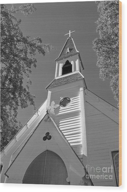 St. Paul's Church Port Townsend In B W Wood Print
