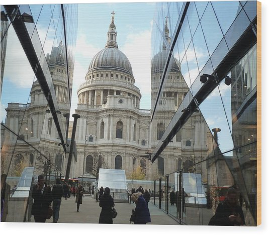 St Paul's Reflected Wood Print