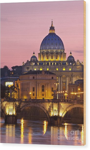 Wood Print featuring the photograph St Peters Basilica by Brian Jannsen