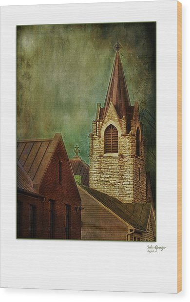 St Peter's By Night Greeting Card Wood Print