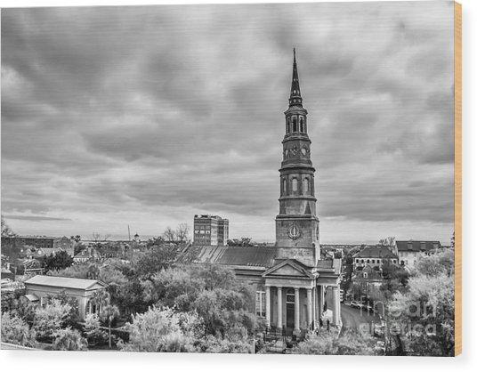 St. Philip's Church X Downtown Charleston Wood Print by Philip Jr Photography