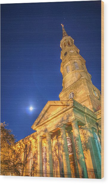 St. Phillip's At Night With Moon And Stars Wood Print