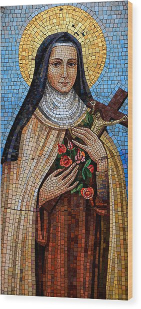 St. Theresa Mosaic Wood Print