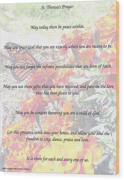 St Theresa's Prayer Wood Print