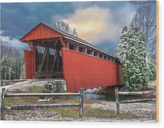 Staats Mill Covered Bridge Wood Print