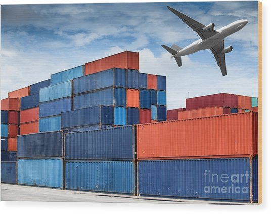 Stack Of Cargo Containers  Wood Print