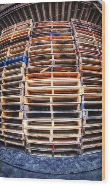 Stack Of Pallets Wood Print by Rscpics
