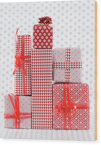 Stack Of Wapped Gifts Wood Print by Muriel De Seze