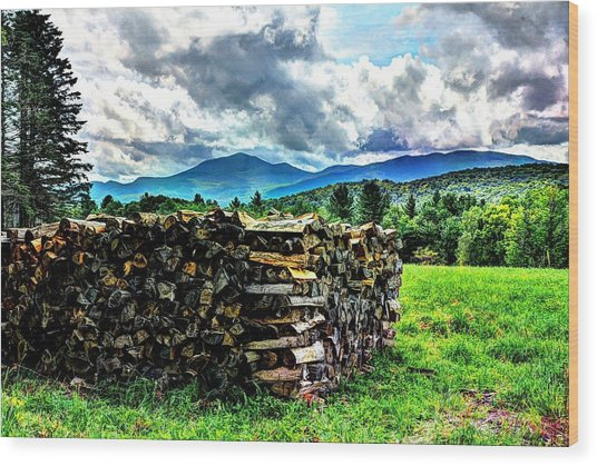 Stacked Firewood Wood Print