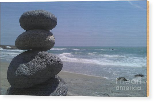 Stacked Rocks Wood Print