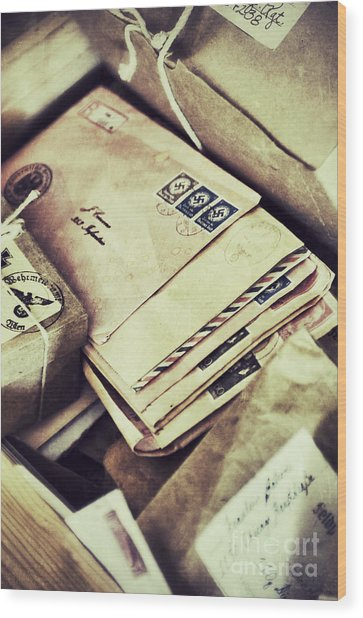 Stacks Of Old Mail Wood Print