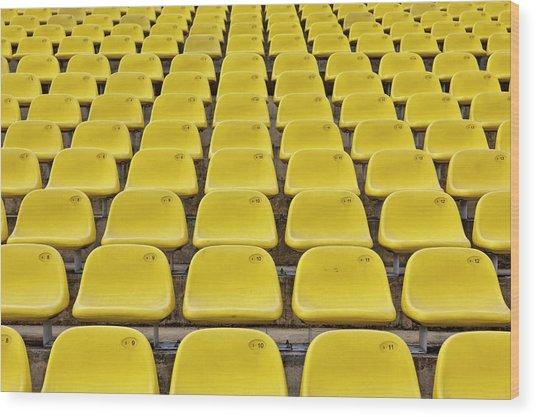 Stadium Seats Wood Print by 35007
