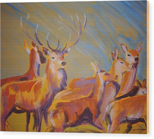 Stag And Deer Painting Wood Print