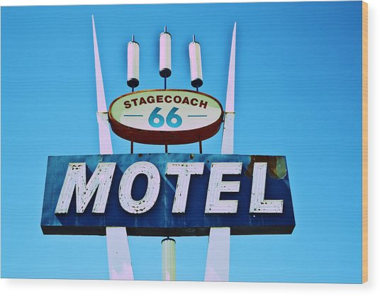 Stagecoach 66 Motel Wood Print