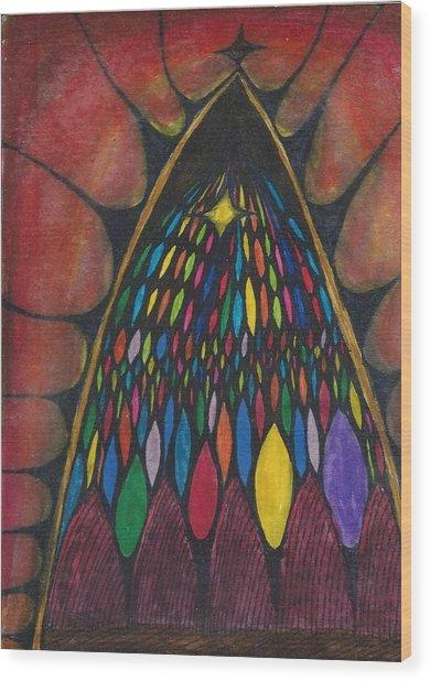 Stain Glass Window Drawing Wood Print by Cim Paddock