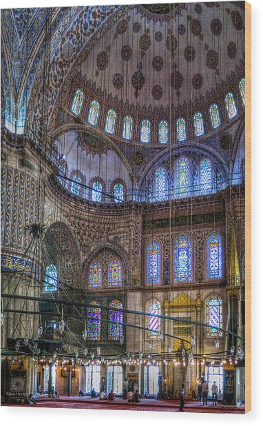 Stained Glass And Dome Of The Sultanahmet Mosque Wood Print