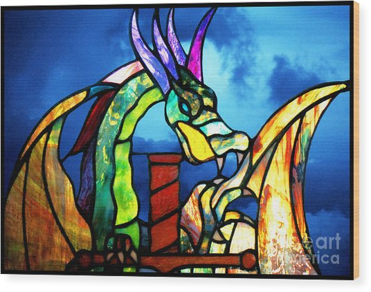 Stained Glass Dragon Wood Print
