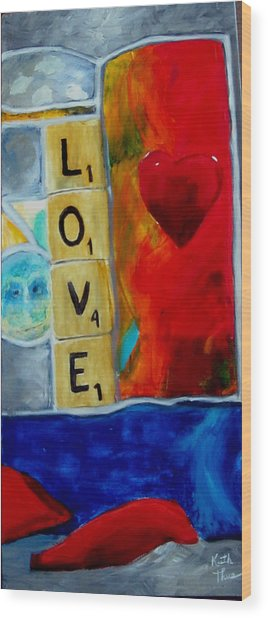 Stained Glass Love Wood Print