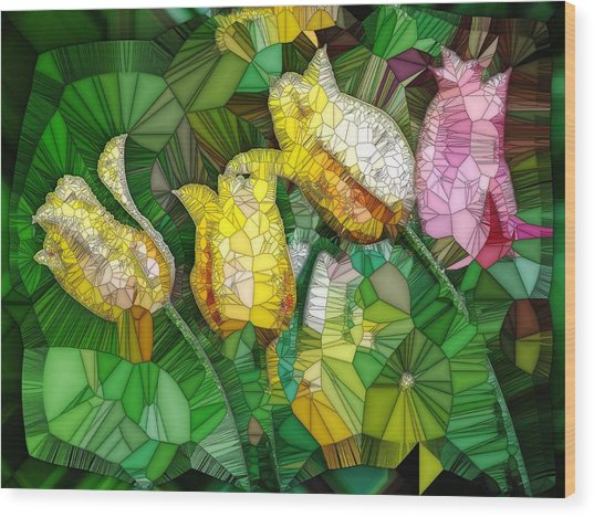 Stained Glass Series - Tulips Wood Print