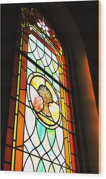 Stained Glass Wheat Wood Print by Stephanie Grooms