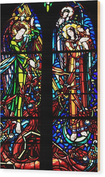 Stained Glass Window At Mont  Le Saint-michel Wood Print