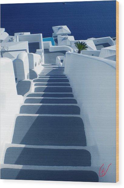 Stairs Down To Ocean Santorini Wood Print