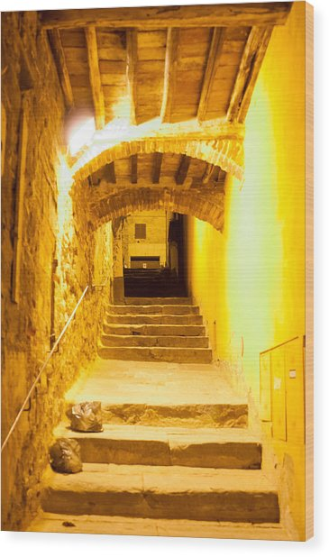 Stairs In Montepulciano At Night Wood Print by Jakob Montrasio