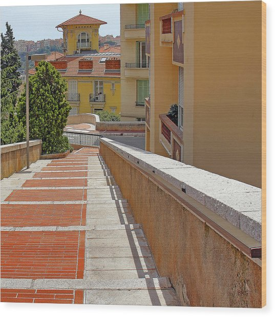 Stairway In Monaco French Riviera Wood Print