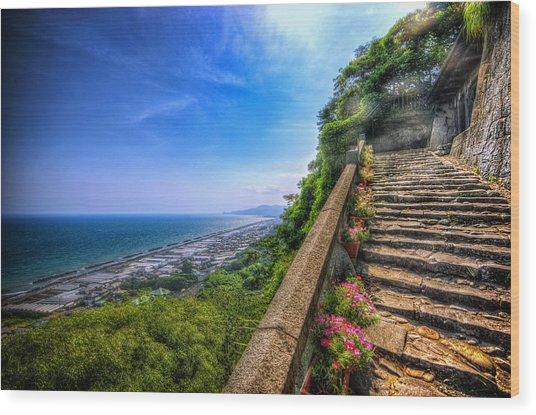 Stairway Temple Wood Print