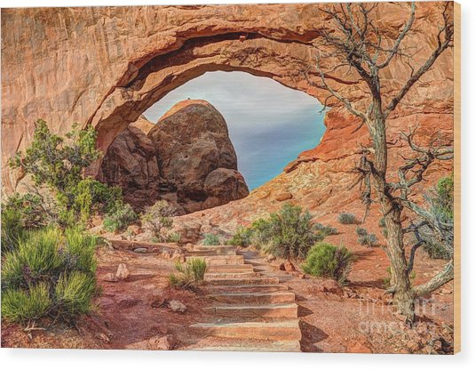 Stairway To Heaven - North Window Arch Wood Print