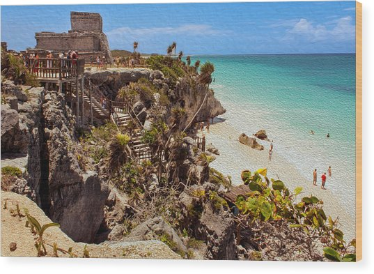 Stairway To The Tulum Beach  Wood Print
