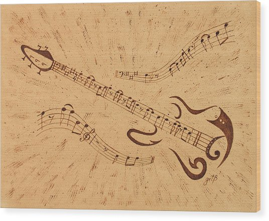 Stand By Me Guitar Notes Original Coffee Painting Wood Print