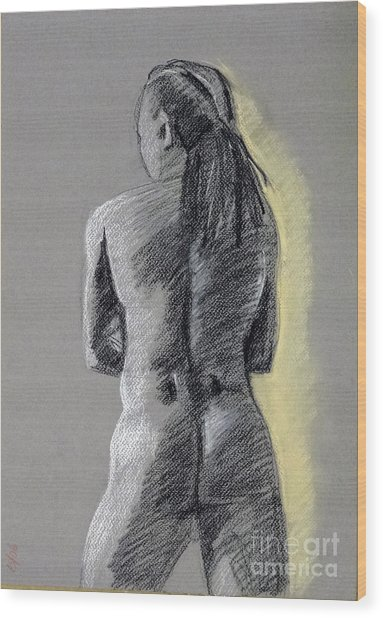 Standing Male Back Wood Print