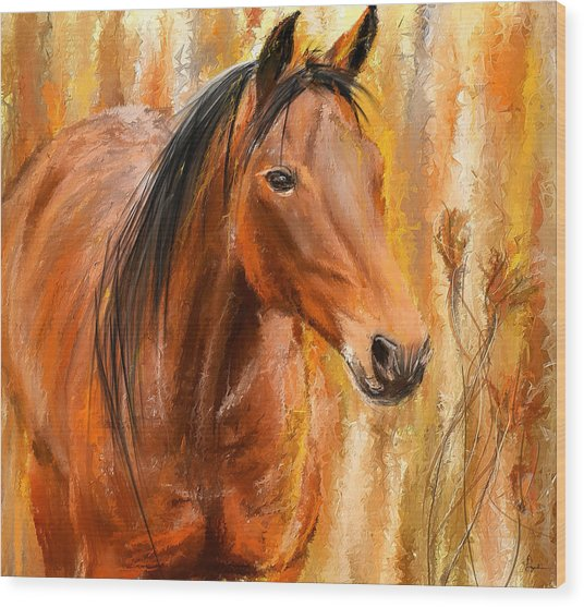 Standing Regally- Bay Horse Paintings Wood Print