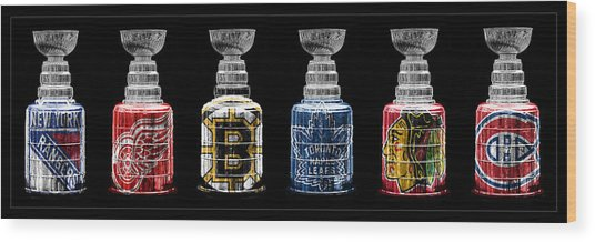 Stanley Cup Original Six Wood Print