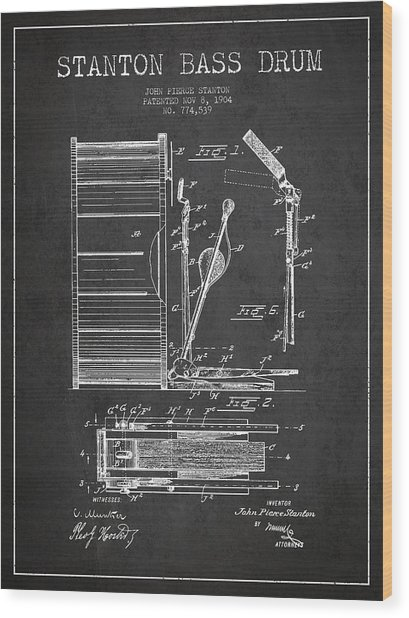 Stanton Bass Drum Patent Drawing From 1904 - Dark Wood Print