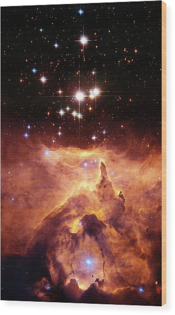 Star Cluster Pismis 24 Above Ngc 6357 Wood Print