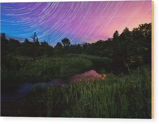 Star Lines And Fireflies Wood Print
