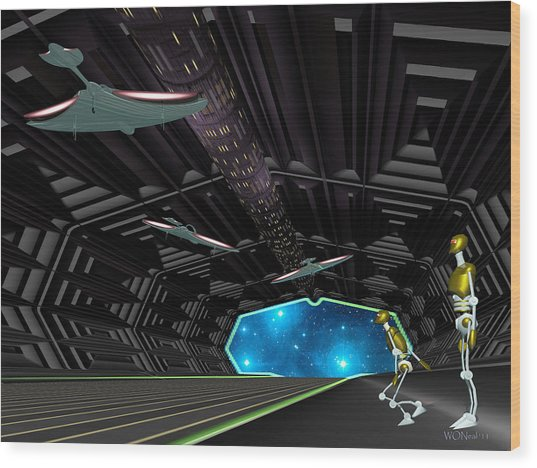 Star Ship Chamber Landing Wood Print by Walter Oliver Neal