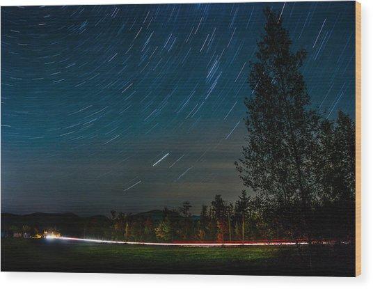 Star Trails Car Trails Wood Print