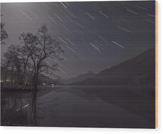 Star Trails Over Lake Wood Print