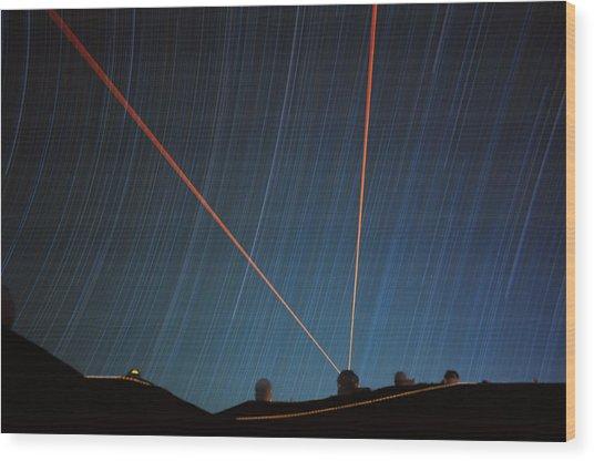 Star Trails Over Mauna Kea Observatory Wood Print