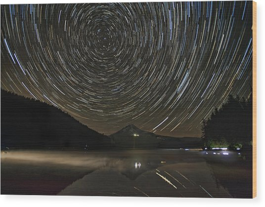 Star Trails Over Mount Hood At Trillium Lake Wood Print